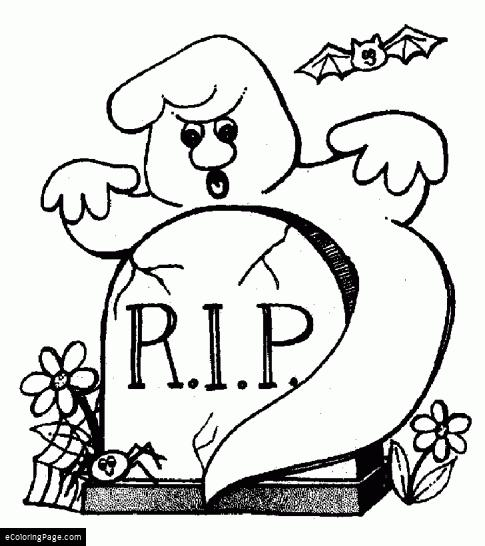 485x546 Happy Halloween Rip Ghost And Bat Coloring Page Ecoloringpage