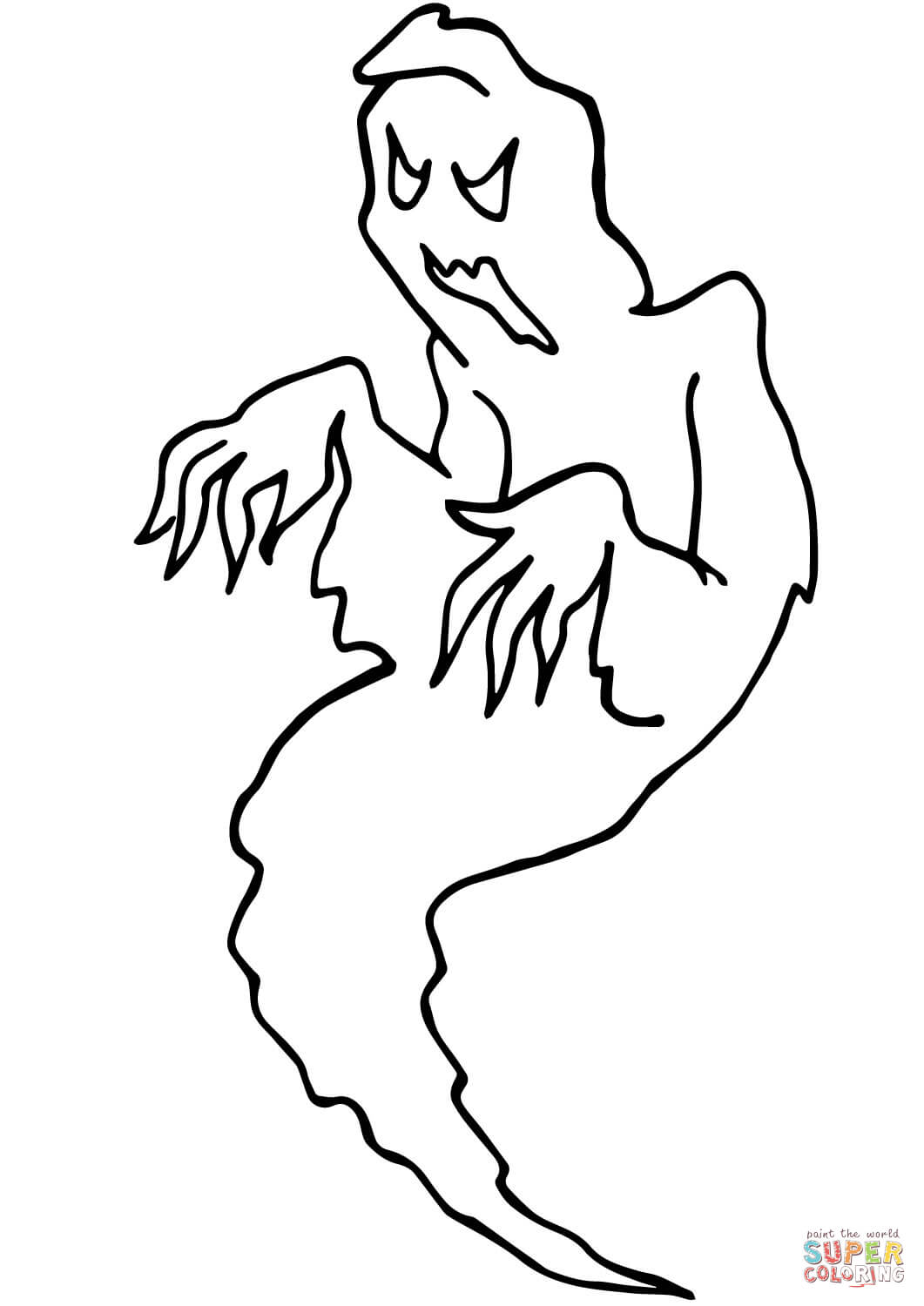 1061x1500 Scary Hallowen Ghost Coloring Page Free Printable Coloring Pages