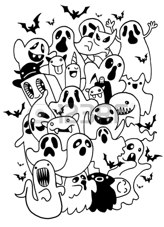 324x450 Set Of Cute Ghosts In The Cemetery For Halloween. Drawing By