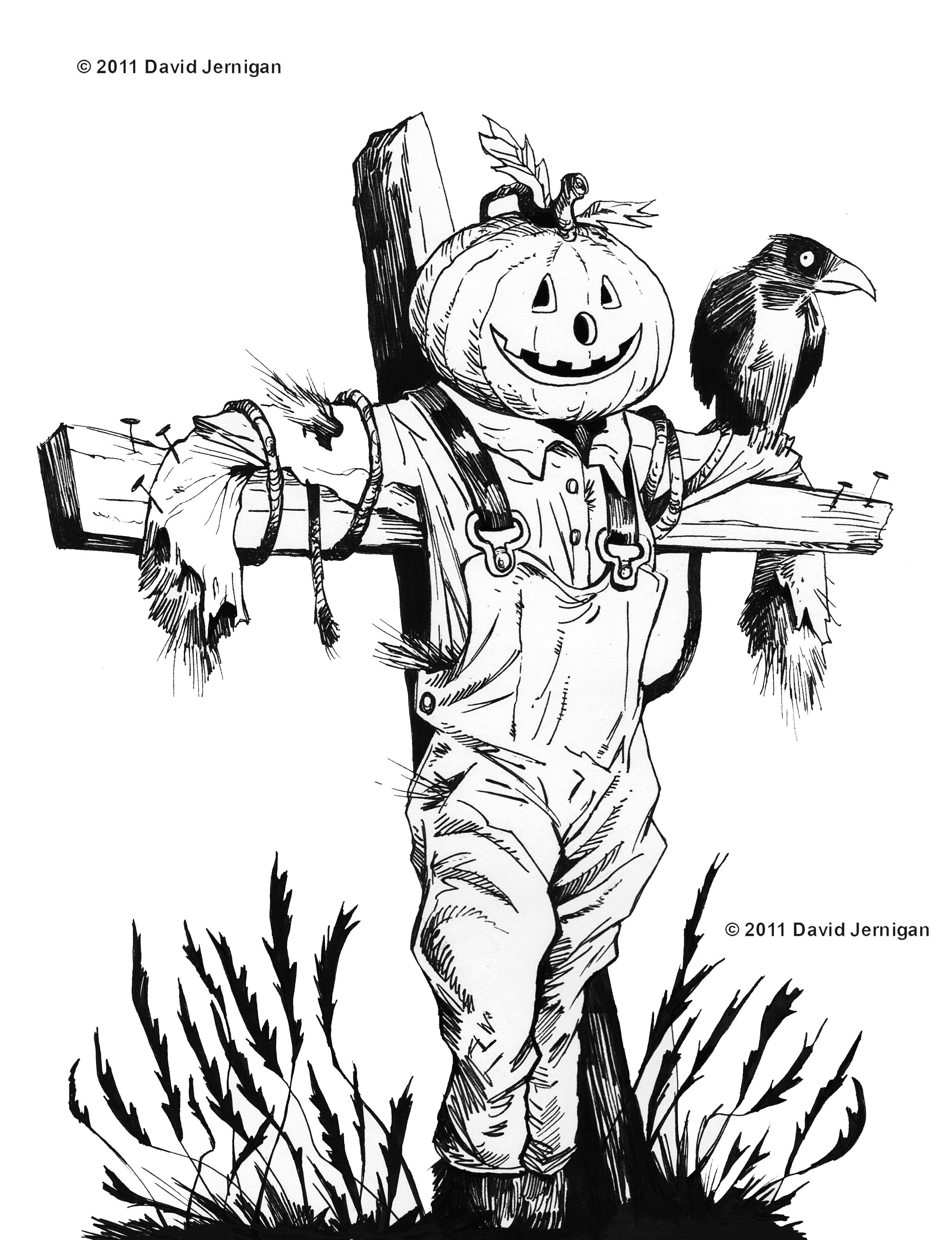 2479x3229 halloween scarecrow sketch sketcharound - Halloween Line Drawings