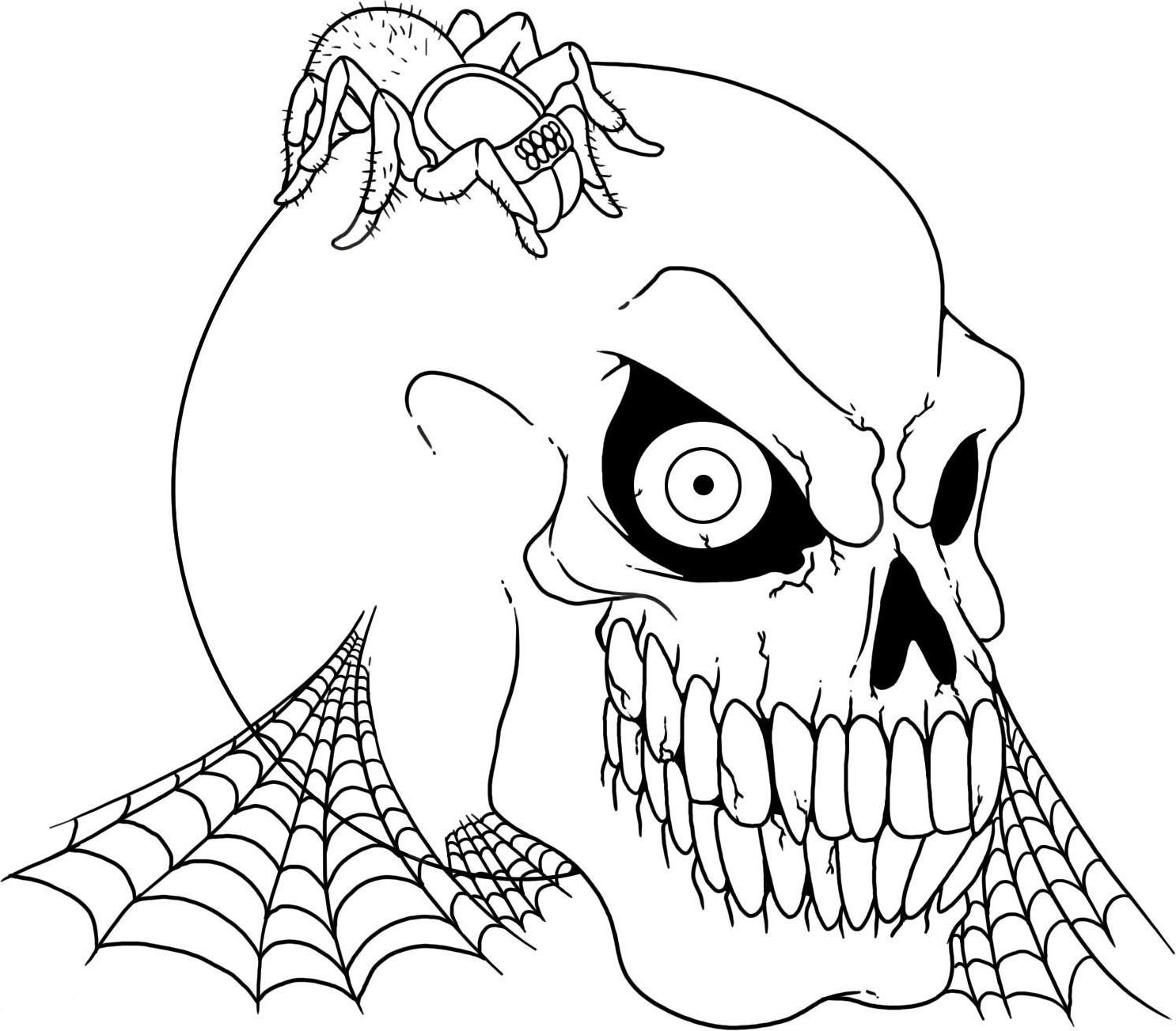1486x1303 Halloween Skull Spider Free Coloring Page Adults, Halloween