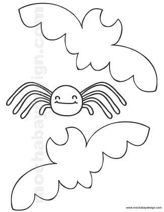 325x420 Printable Halloween Coloring Page Of Bats And Spider