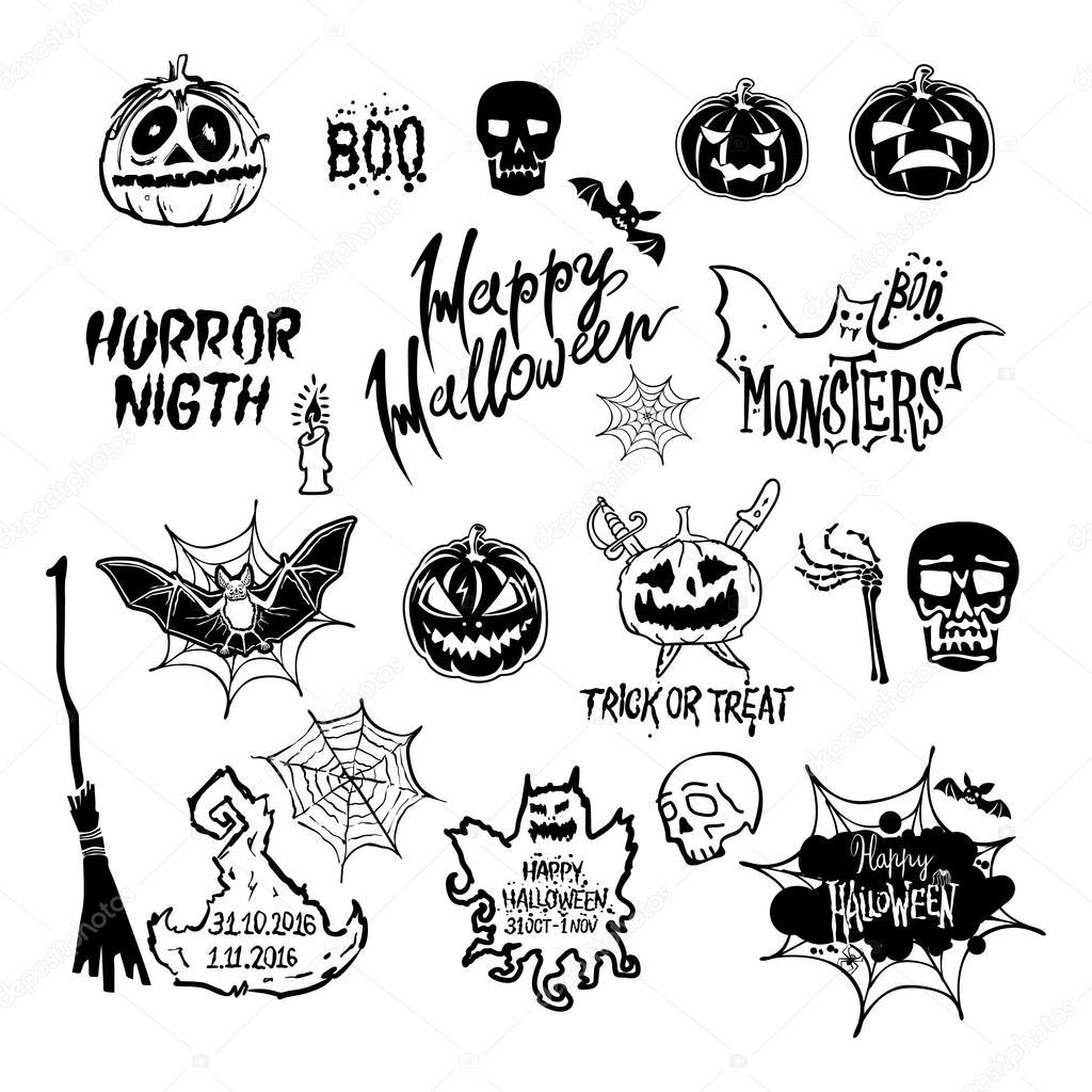 1024x1024 Vector Halloween Set, Drawn Halloween Symbols Pumpkin, Broom, Bat