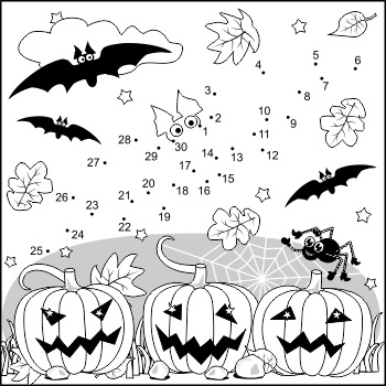 350x350 Halloween Bat Connect The Dots And Coloring Page, Commercial Use