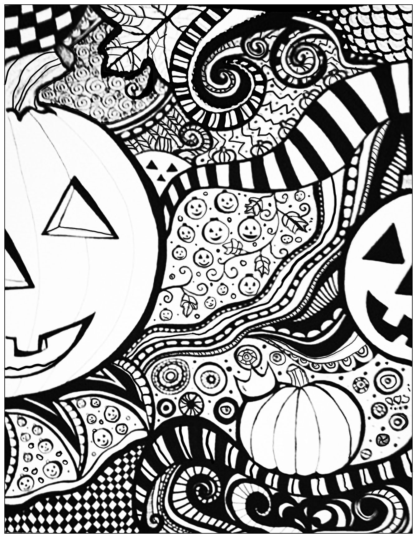 1338x1728 Halloween Themed Coloring Free Draw To Color