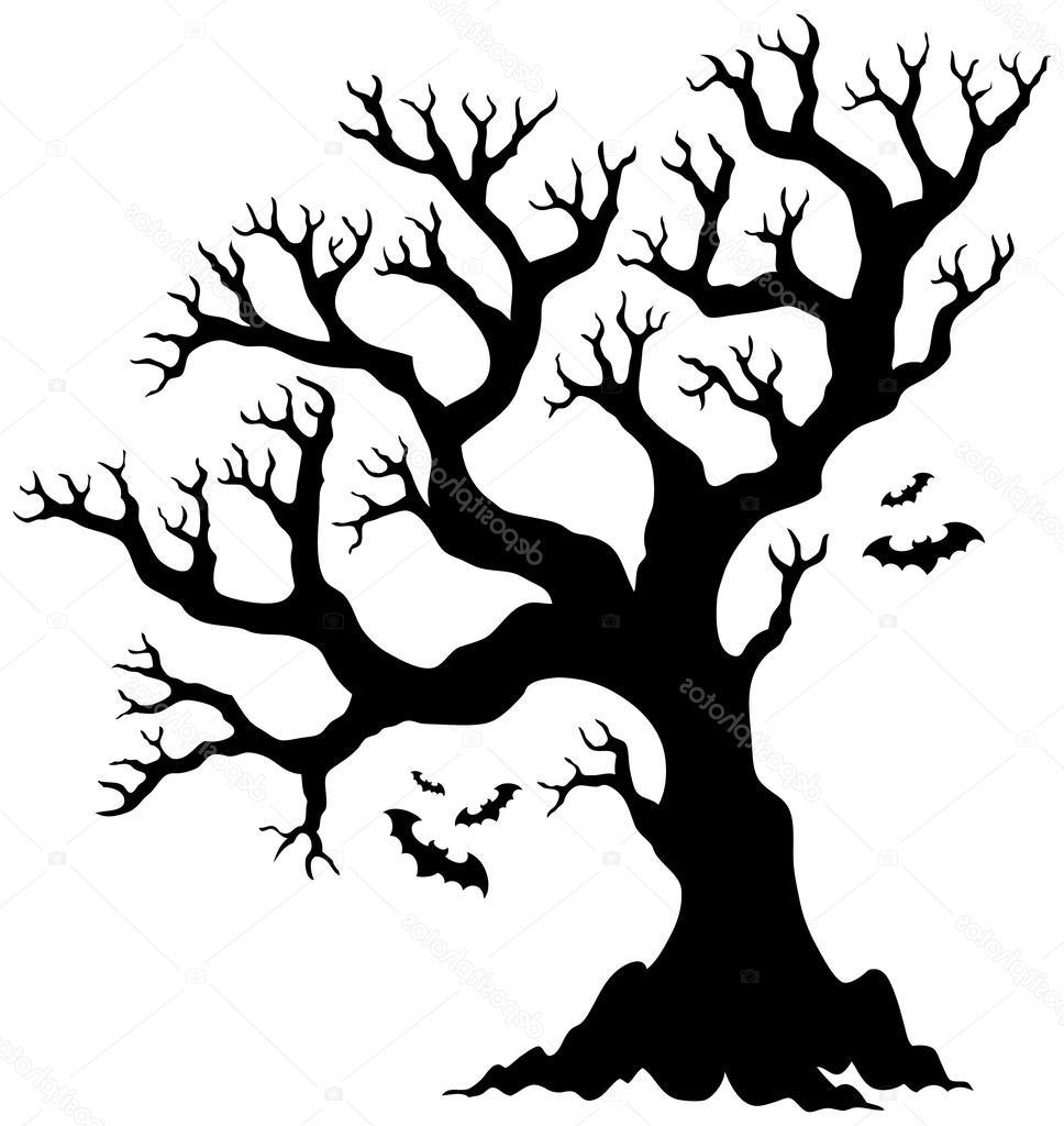 968x1024 Hd Stock Illustration Silhouette Halloween Tree With Bats Design
