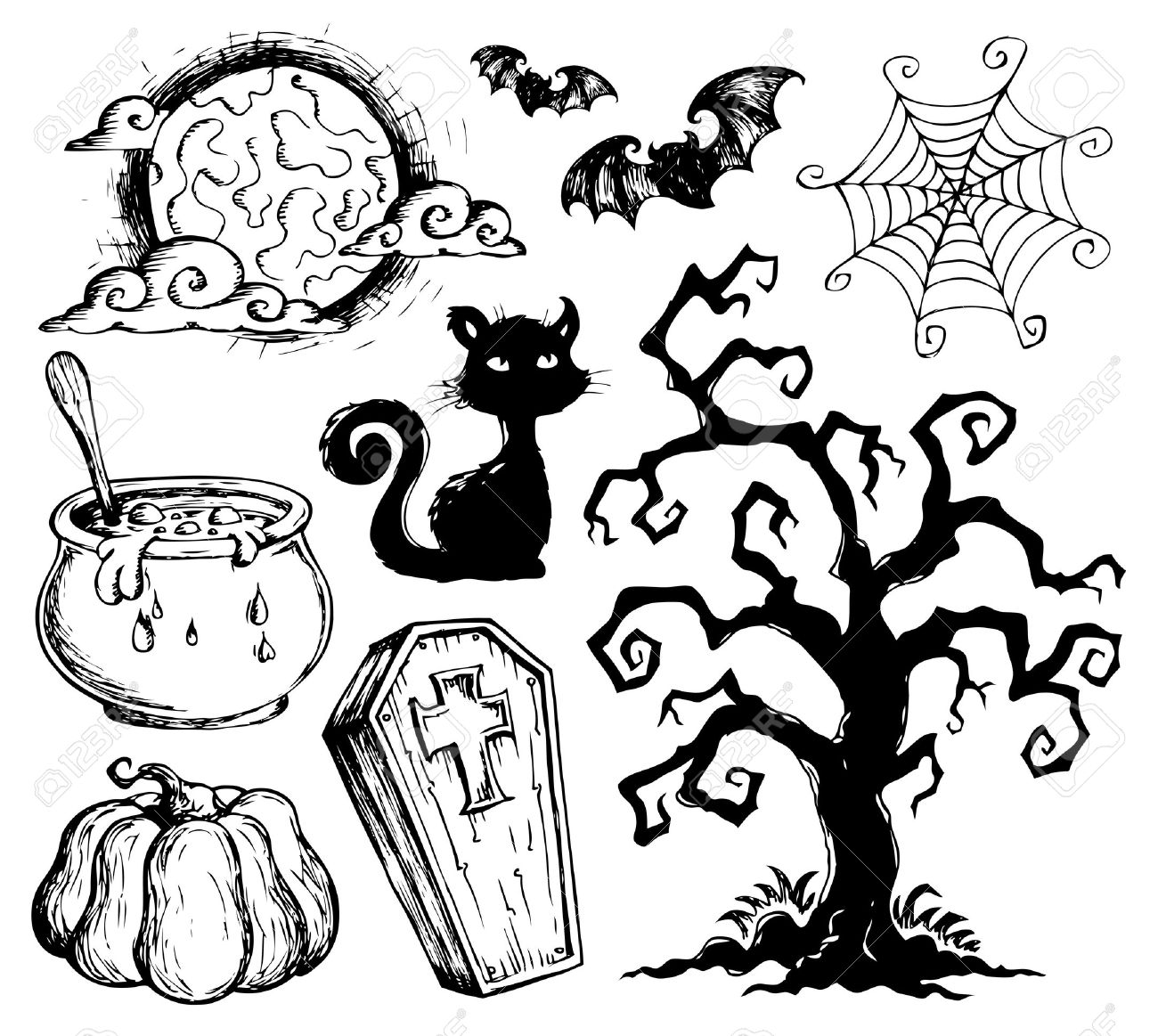 1300x1163 Halloween Drawings Royalty Free Cliparts, Vectors, And Stock