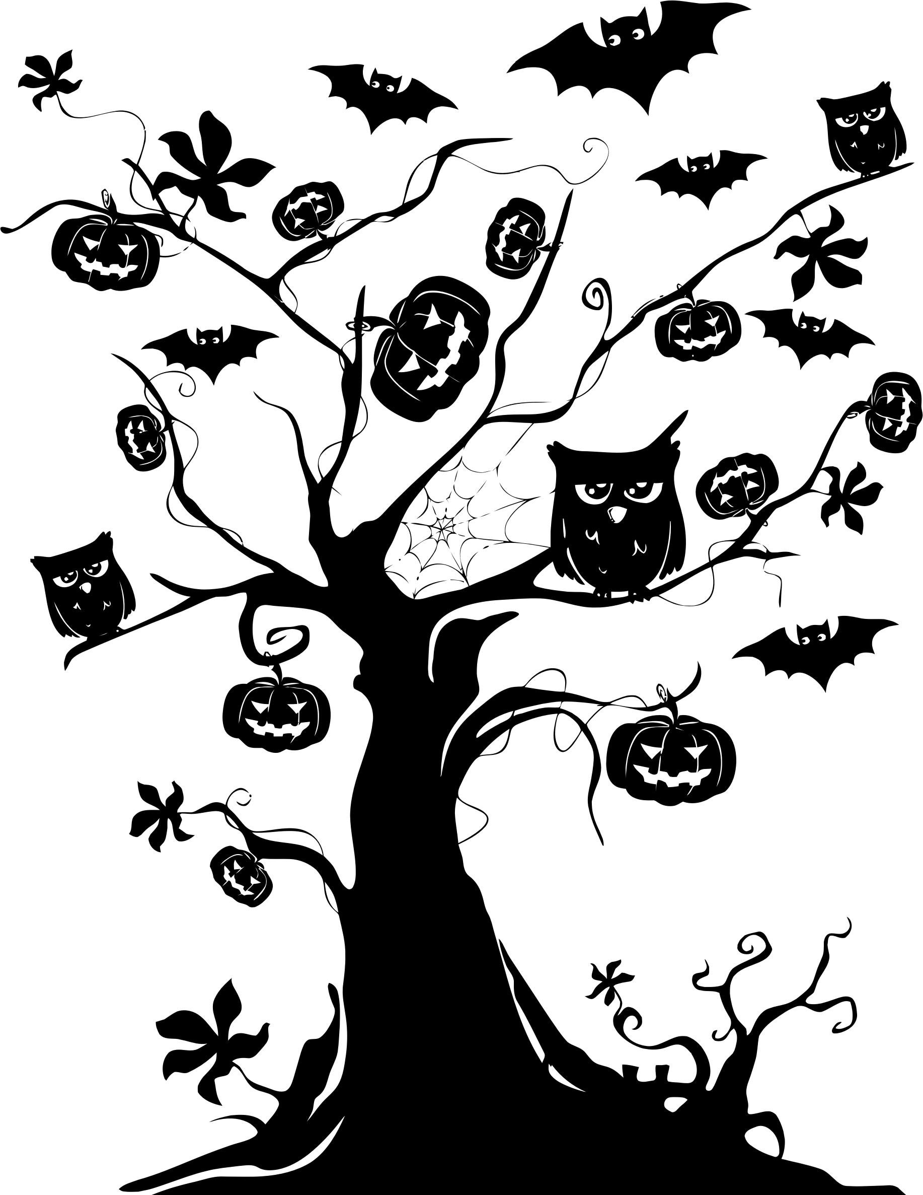 1834x2373 Halloween Tree Silhouette Icons Png