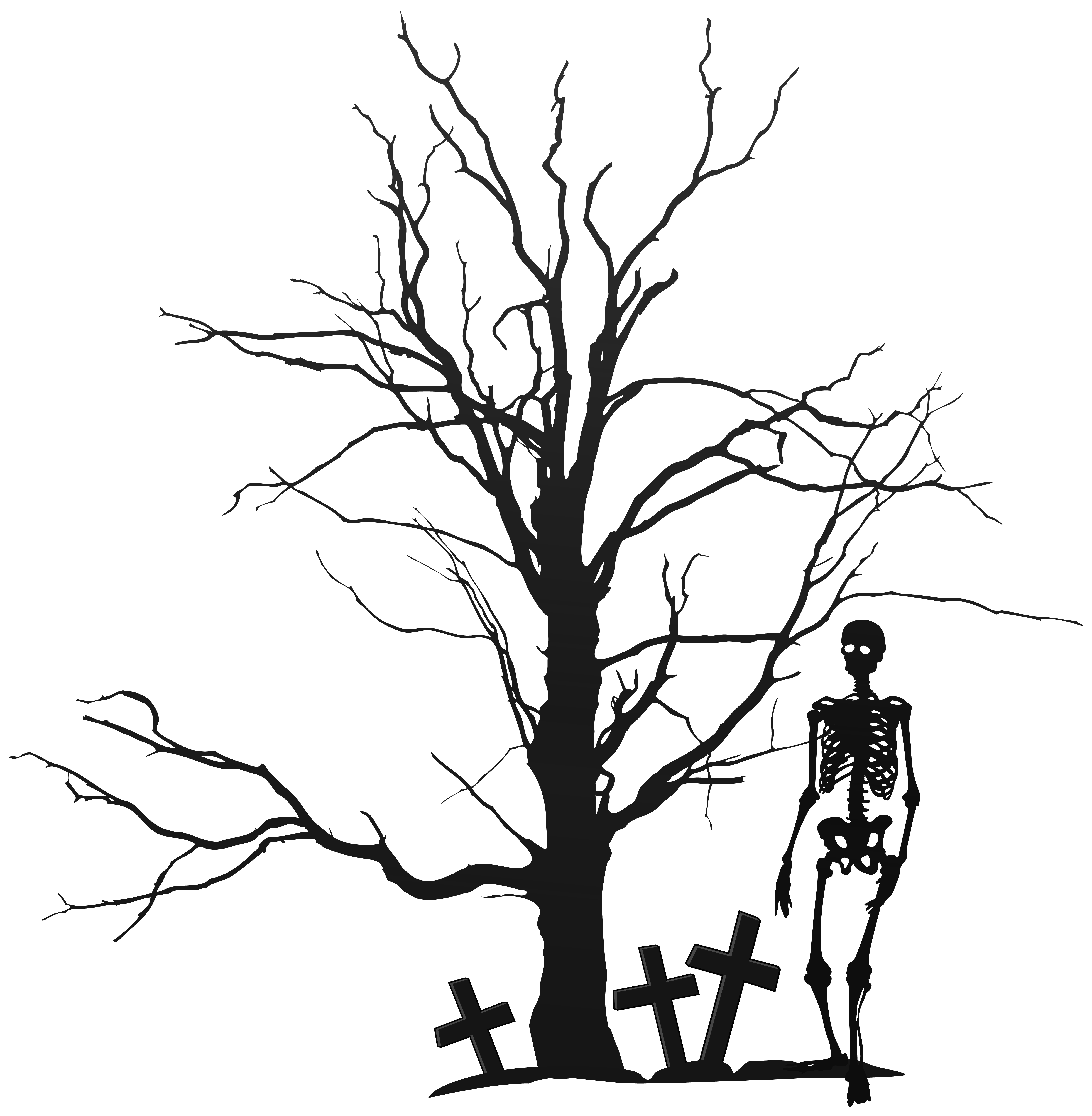 6106x6238 Halloween Tree And Skeleton Png Clipart Imageu200b Gallery