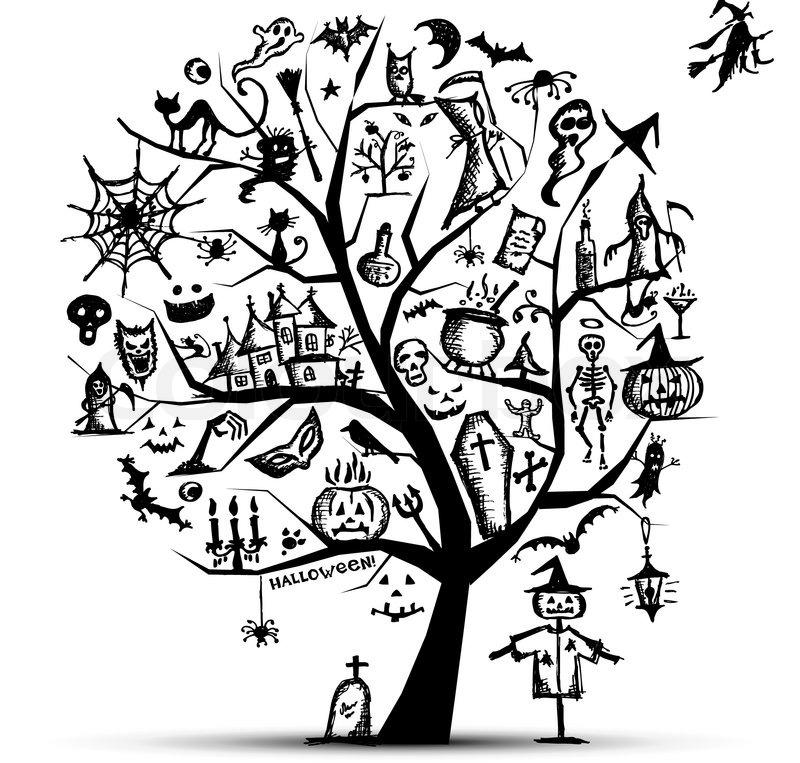 800x763 Halloween Tree For Your Design Stock Vector Colourbox
