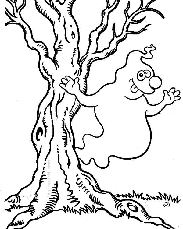 600x752 Hilarious White Ghost Beside The Tree On Halloween Day Coloring