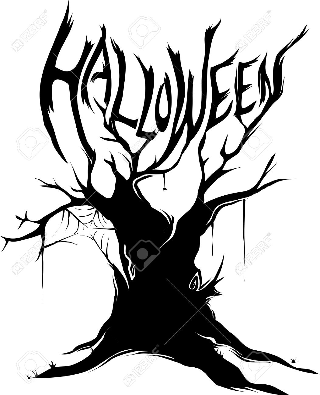 1052x1300 Illustration Featuring The Silhouette Of A Halloween Tree Royalty