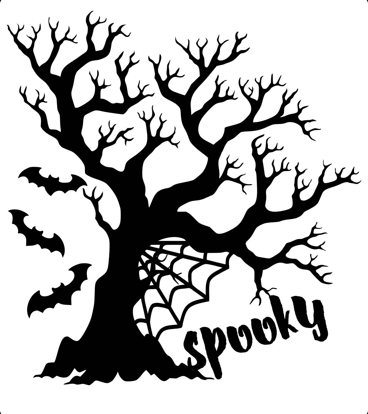 1183x1333 Svg Cut File Spooky Halloween Tree Commerical Use Bats