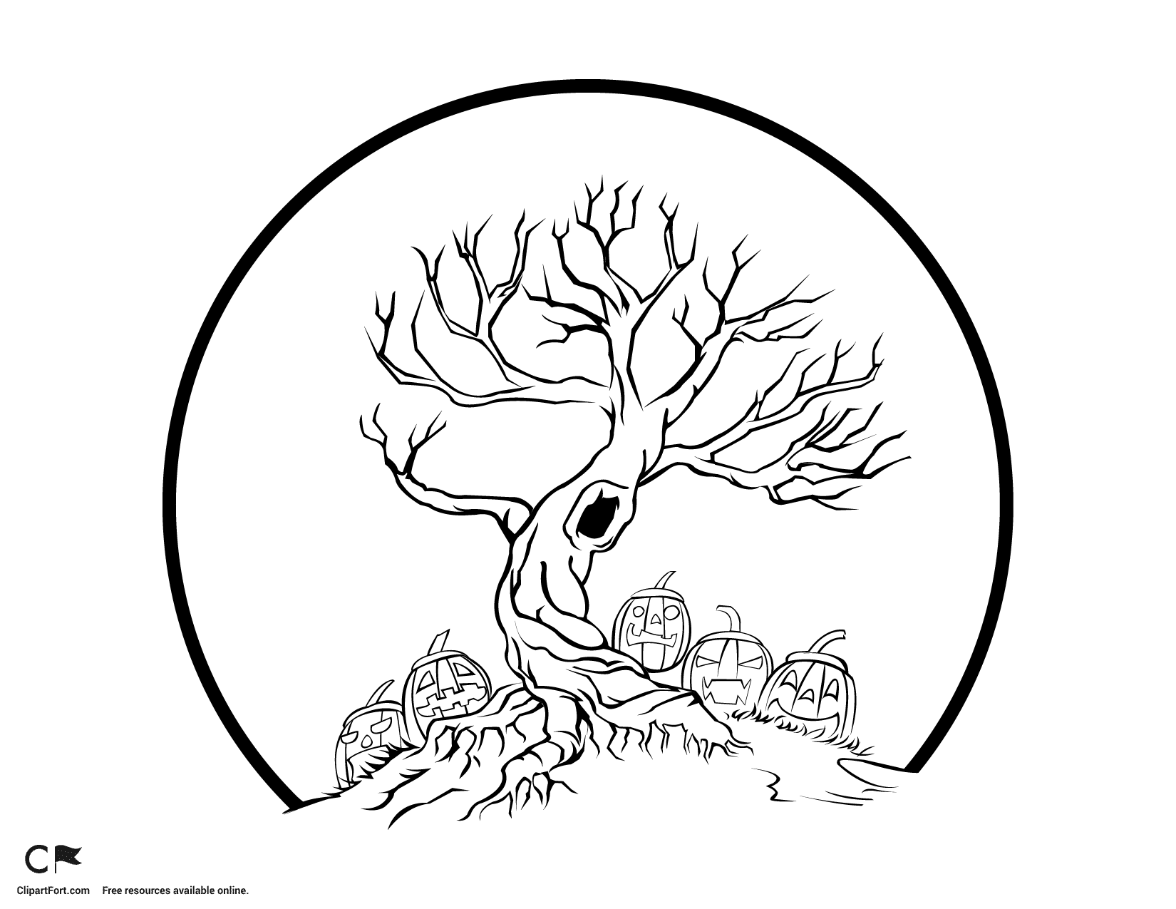 1650x1275 Scary Halloween Tree Coloring Pages Preschool For Pretty Draw