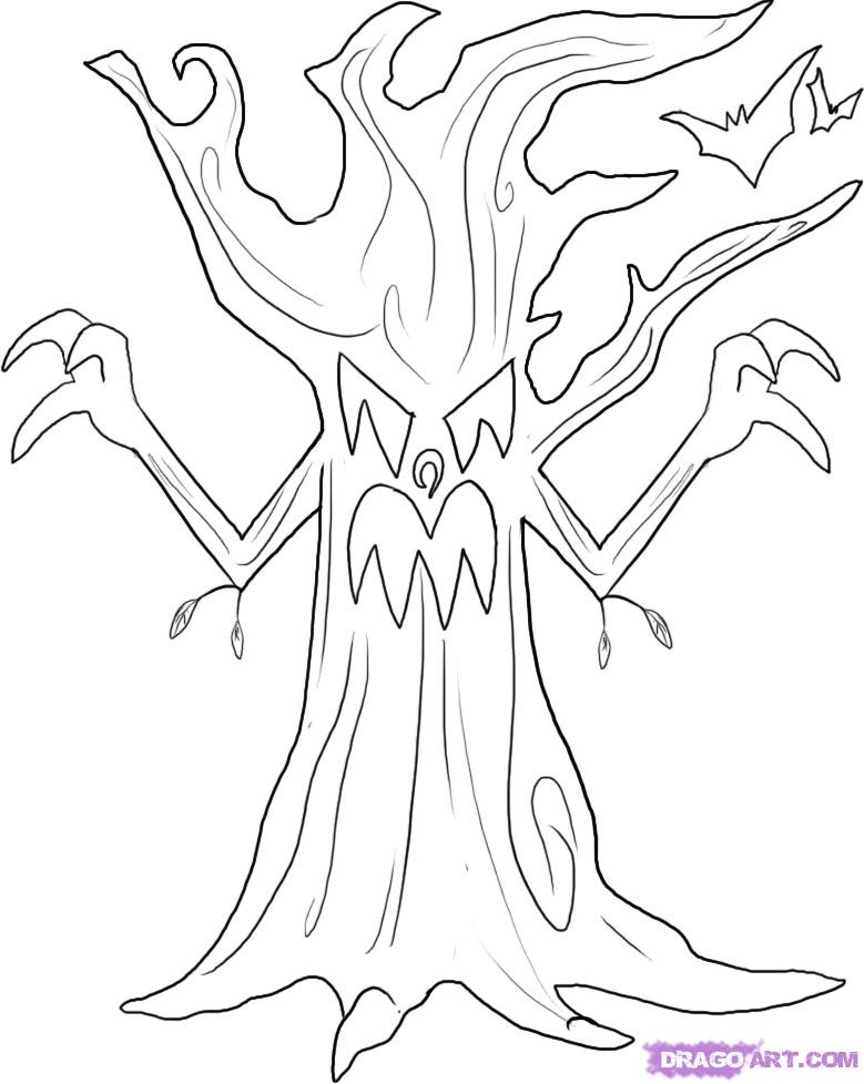 779x978 Scary Halloween Tree Coloring Pages Preschool To Humorous