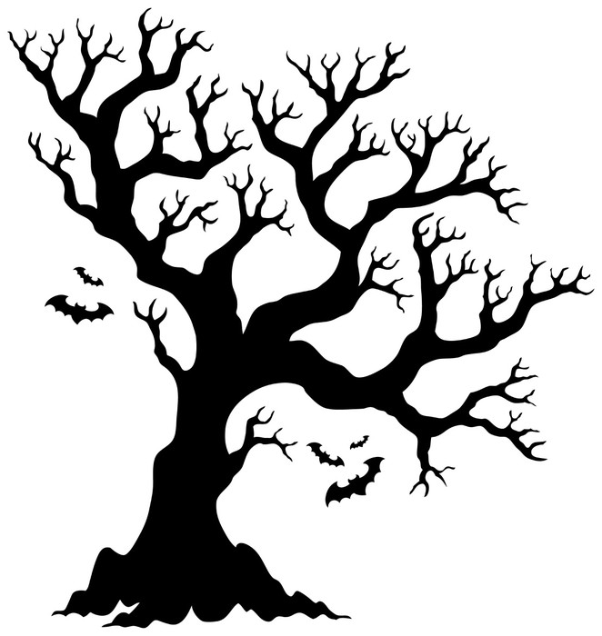 662x700 Silhouette Halloween Tree With Bats Sticker We Live