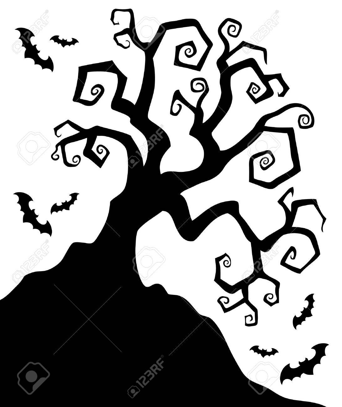 1092x1300 Spooky Silhouette Of Halloween Tree Illustration Royalty Free