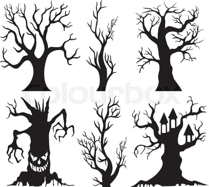 800x715 Vector Illustration Of Set Of Spooky Halloween Tree Cartoon