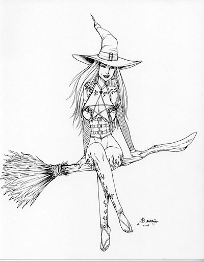 Halloween Witch Drawing