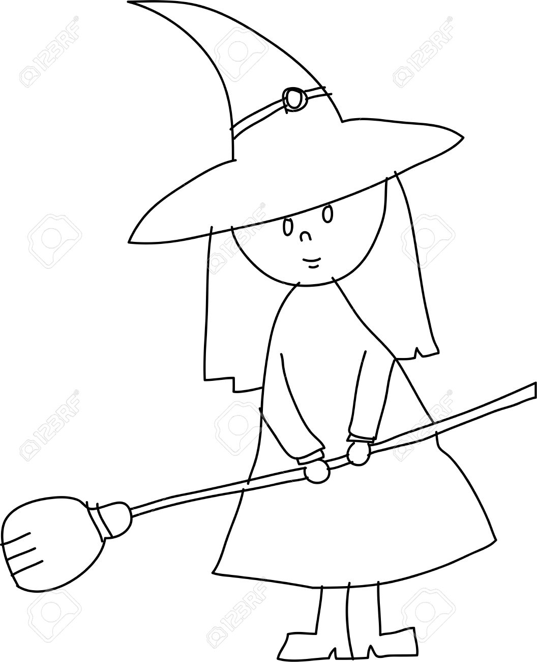 1056x1300 Hand Draw Halloween Witch Cartoon Vector Royalty Free Cliparts
