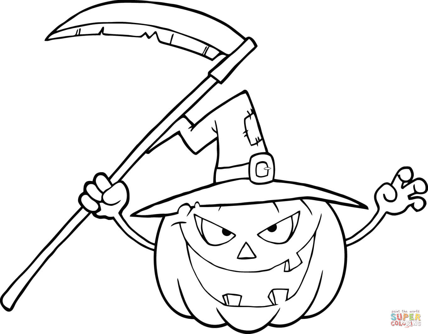 1362x1063 Scary Halloween Pumpkin With A Witch Hat And Scythe Coloring Page