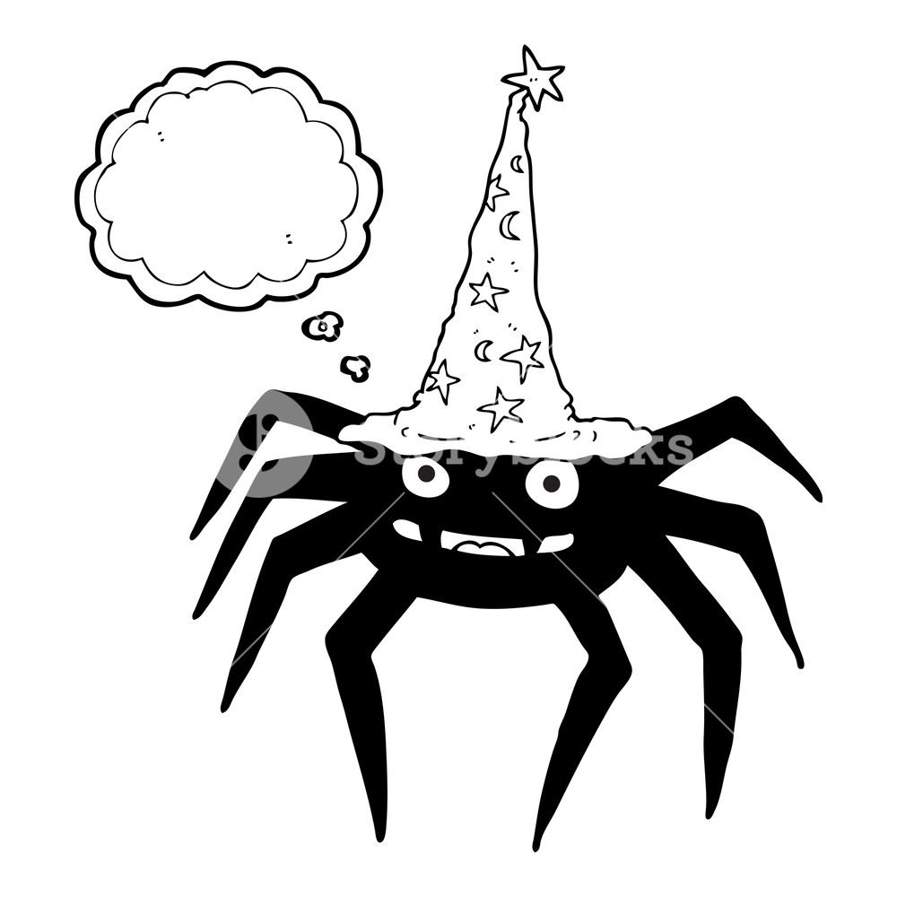 1000x1000 Freehand Drawn Thought Bubble Cartoon Halloween Spider In Witch