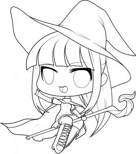 267x302 How To Draw A Halloween Witch, Halloween Witch Step 9 Lineart