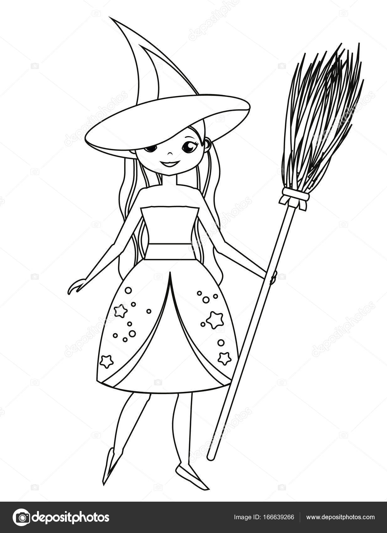 1234x1700 Coloring Page For Children. Cute Witch Holding Broom. Girl