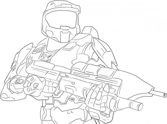 550x407 Halo 3 Fighting Coloring Page