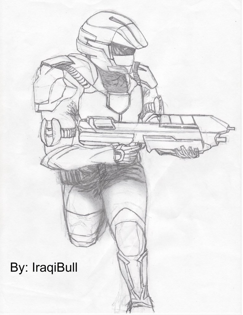 786x1017 Halo 3 Trooper Running By Iraqibull