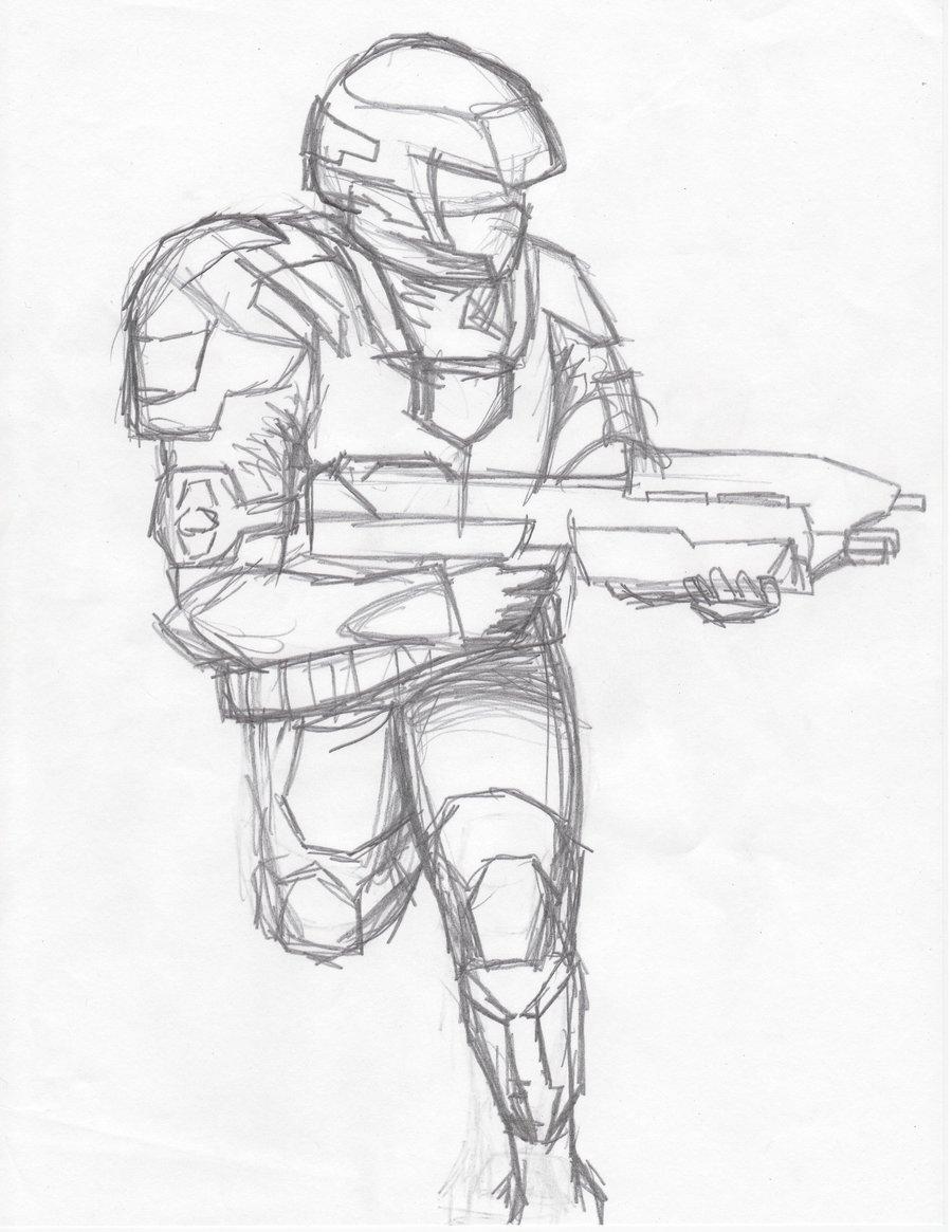900x1165 Halo 3 Trooper Sketch By Iraqibull