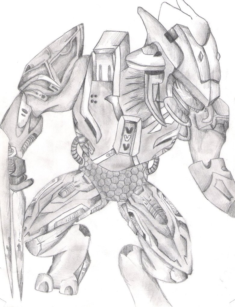 781x1022 Halo Reach Elite Drawing By Waterdragons