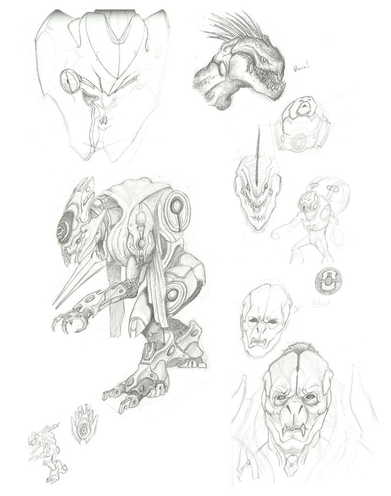794x1006 Halo 4 Sketch Dump 1 By Ninjaboomer44