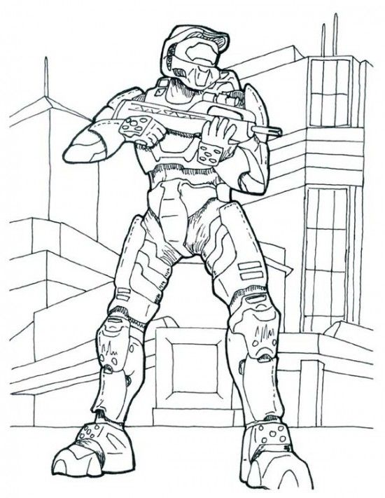 550x711 Halo Master Chief Coloring Pages