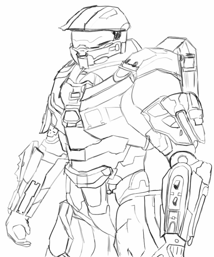 722x864 Halo Master Chief Coloring Pages