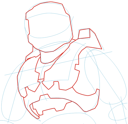 500x481 How To Draw Master Chief From Halo In Step By Step Drawing