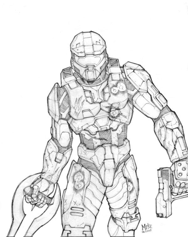 600x756 Master Chief Pencils By Mikedimayuga