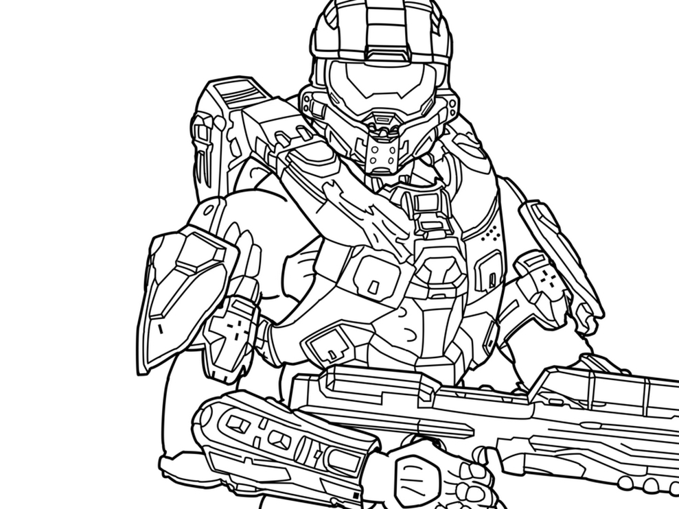 989x742 Master Chief Coloring Pages