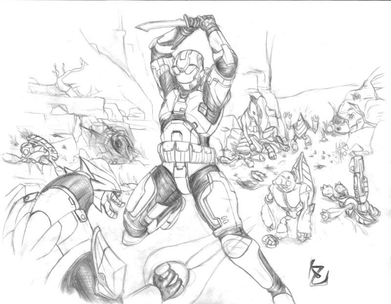 800x622 Halo Battle Sketch By Jun89