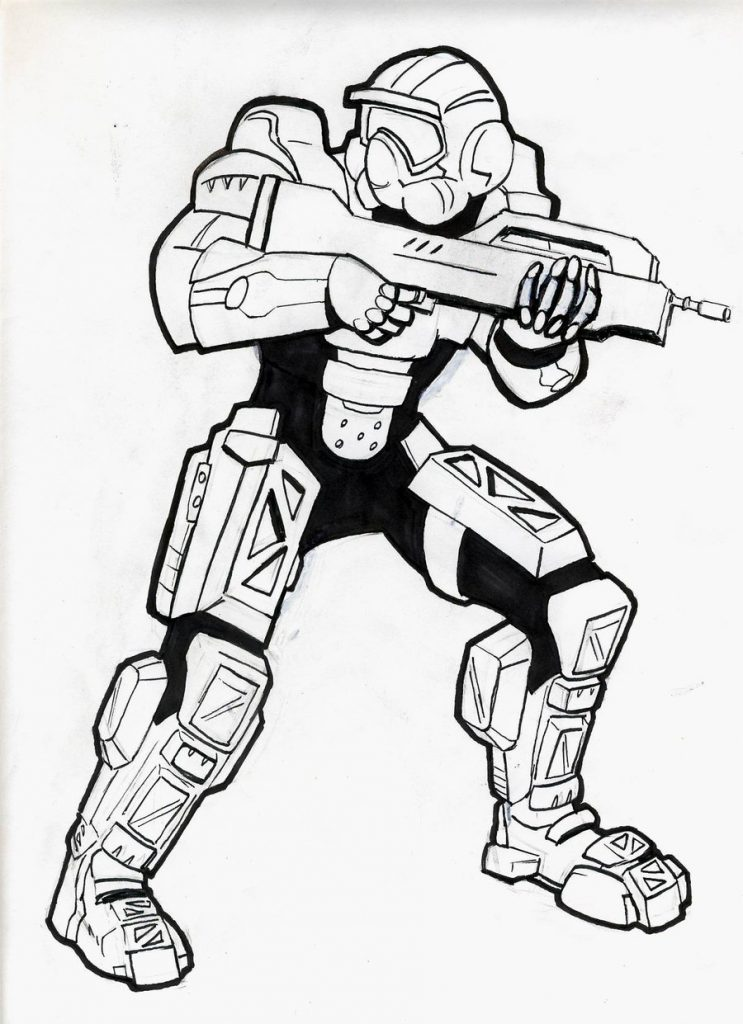 743x1024 Halo Spartan Coloring Pages Free Only Lineart Printable Adult Book