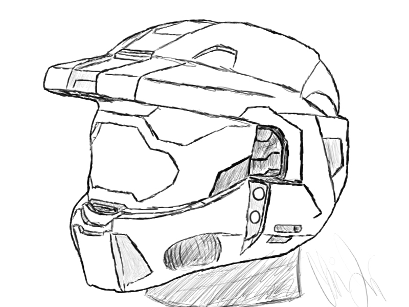 It's just a picture of Monster Halo Helmet Drawing