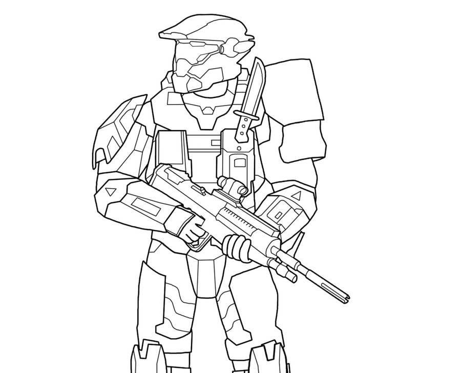 900x728 Halo Master Chief Coloring Pages