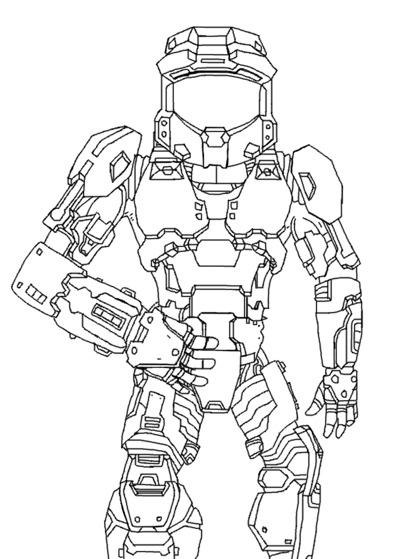 564x793 Halo Master Chief Lineart By Aka Bloodfang1