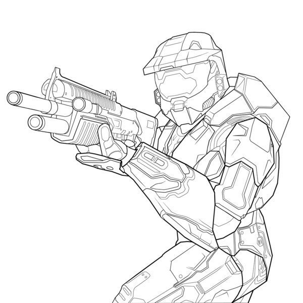 600x600 Master Chief Coloring Pages Coloring Page For Kids
