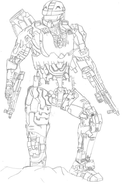 518x780 Halo Master Chief Coloring Pages