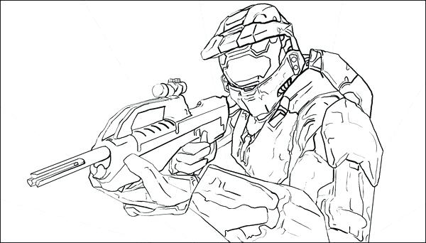 600x342 Halo Reach Coloring Pages Master Chief Helmet Coloring Page
