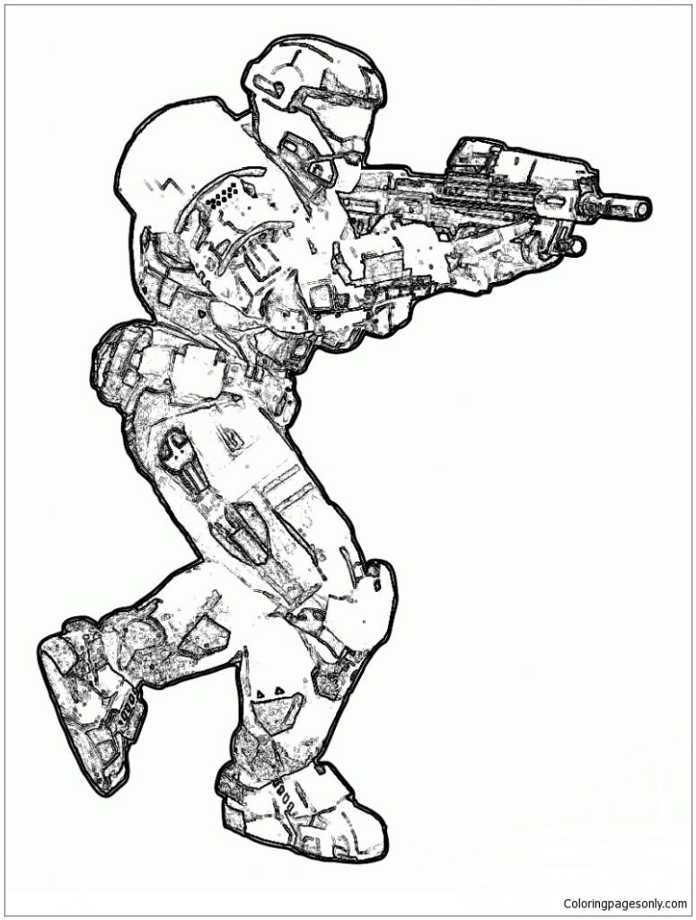 775x1024 Carter Helmet Halo Spartan Coloring Page Free Printable Pages