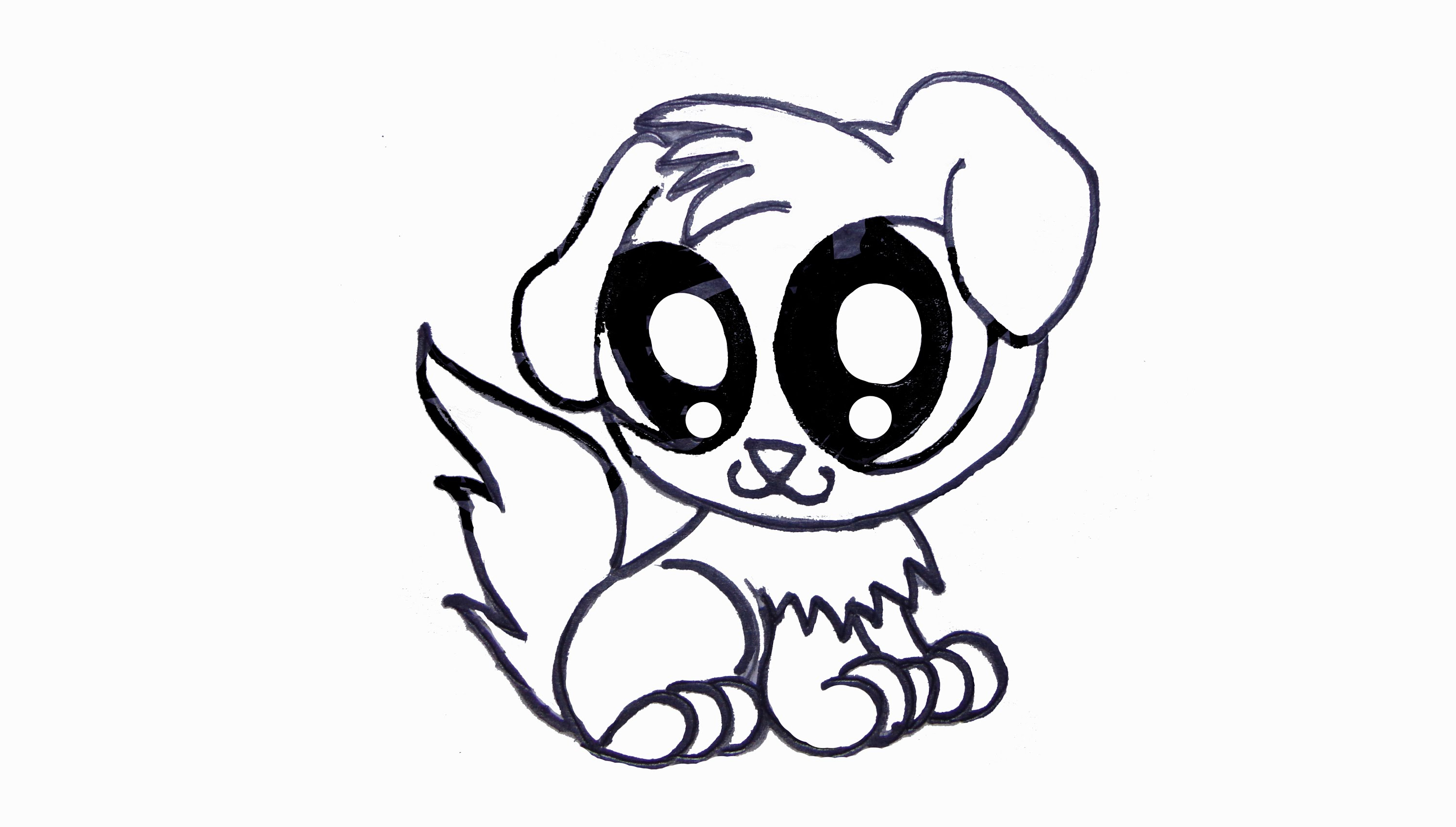 3000x1703 Cute Drawing Of A Puppy Puppy Sketch By ~kitty Ham