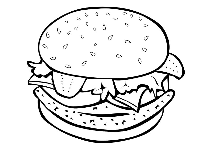875x620 Best Hamburger Junk Food Burger Coloring Pages For Kids Burgers