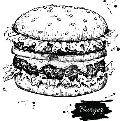412x418 Drawn Burger Outline
